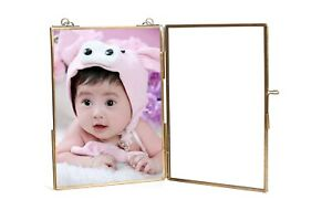 Personalized-Glass-amp-Brass-Square-Hanging-Photo-Frame-7-5-034-For-Document-Memory