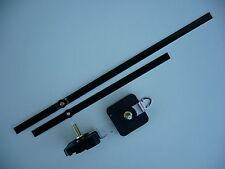 HIGH TORQUE CLOCK MOVEMENT EXTRA LONG SPINDLE 300MM BLACK BATON METAL HANDS