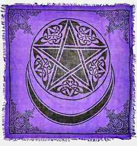 """Moon Pentacle in Purple Altar Cloth 36"""" x 36"""" Wicca Wiccan Pagan Display Decor"""