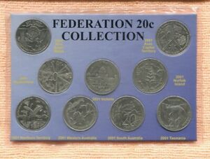 2001-Centenary-Of-Federation-States-20-Cent-coin-Set-Of-9-Carded-J-732