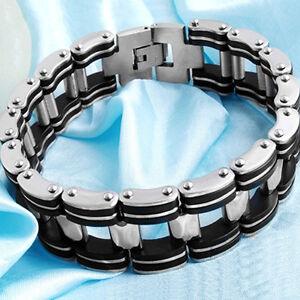 New-Style-Silver-Stainless-Steel-Black-Rubber-Motorcycle-Bike-Men-Chain-Bracelet