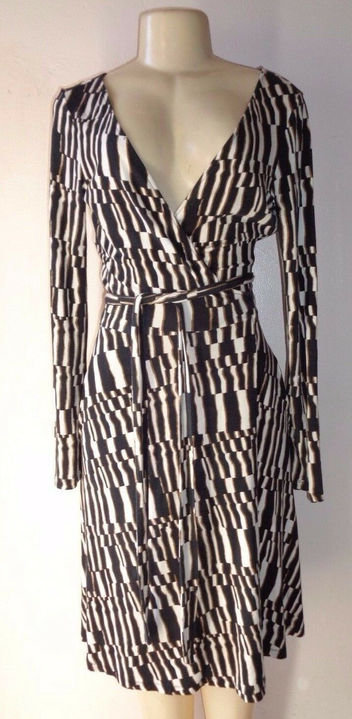 Diane Von Furstenberg JANE MULTI COLOR STRETCH PRINT LONG SLEEVE WRAP DRESS Sz 6
