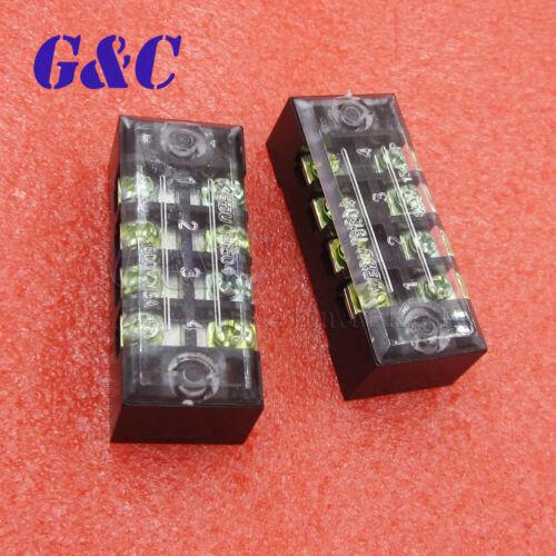3PCS Dual Rows 4 Bit Covered Screw Terminal Block Strip 600V 15A