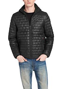 Tommy Hilfiger Men/'s Black Sweaterweight Hooded Packable Puffer Jacket $195