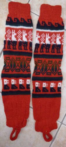 PERUVIAN LEG WARMERS ALPACA WOOL PERU THERMAL WARM KNITTED WARM STIRRUPS SOCKS