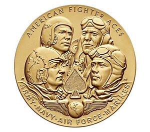 American-Fighter-Aces-Bronze-Medal-1-5-034-US-Mint-Navy-Army-Air-Force-Marines