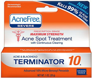 University Medical Products AcneFree  Acne & Blackhead Terminator, 1 oz Yes To Acne Daily Pore Scrub, 4 Oz