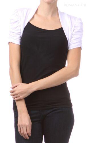 Shirred Short Sleeve Bolero Shrug Open Front Cropped Cute Comfortable S M L