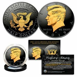 2019-Black-RUTHENIUM-JFK-Half-Dollar-U-S-Coin-2-SIDED-24K-Gold-P-MINT