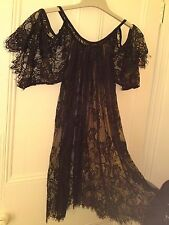 Black lace mini dress [needs petti]/ beach coverup/nightie.Up to size UK20. (XL)