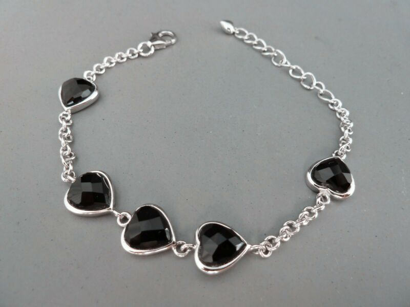 100% 925 Sterling Silver Bracelet. Quality Grade Black Sapphire Hearts -6 Item