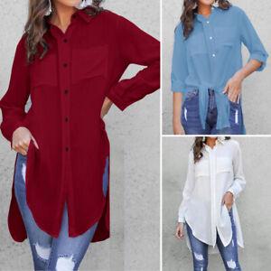 Mode Femme Chemise Haut Shirt Collège Mince Loose Manche Longue Asymétrique Plus