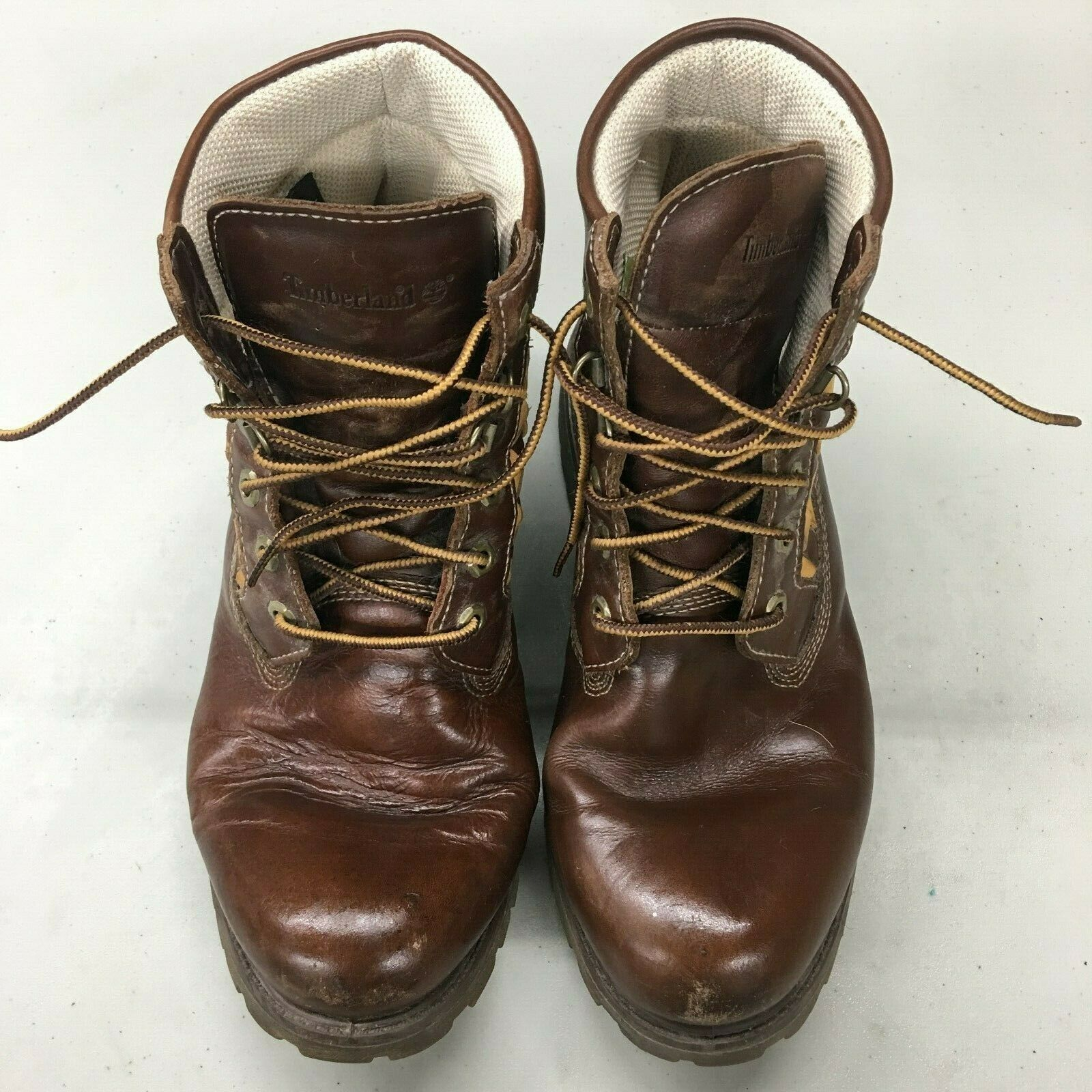 Vintage Unique Leather Brown Checkered Hi Top Timberland Men's Boots Sz 9.5 US