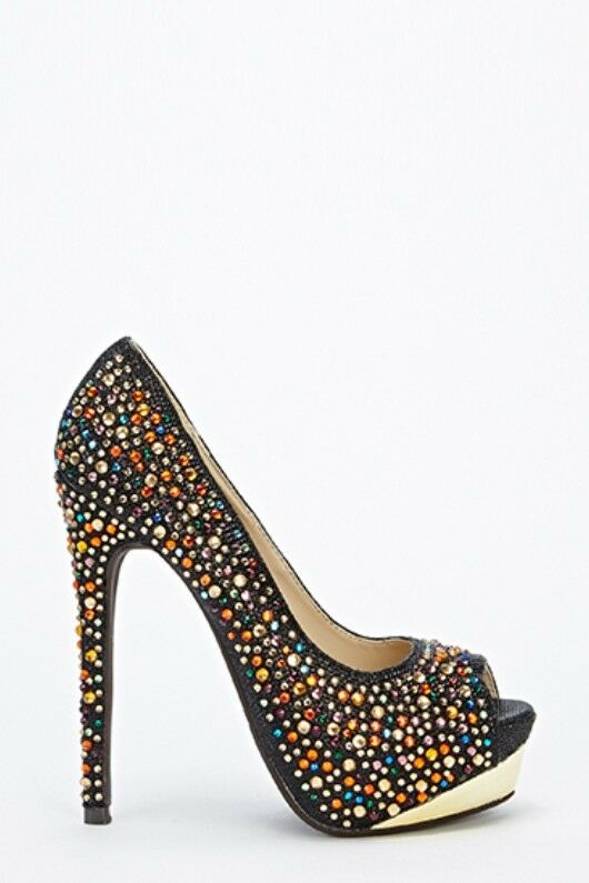 Gem encrusted peep toe heels, UK size 3, Diva Trend