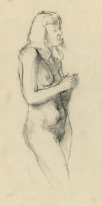 Peter Collins ARCA - c.1970s Charcoal Drawing, Standing Nude Study
