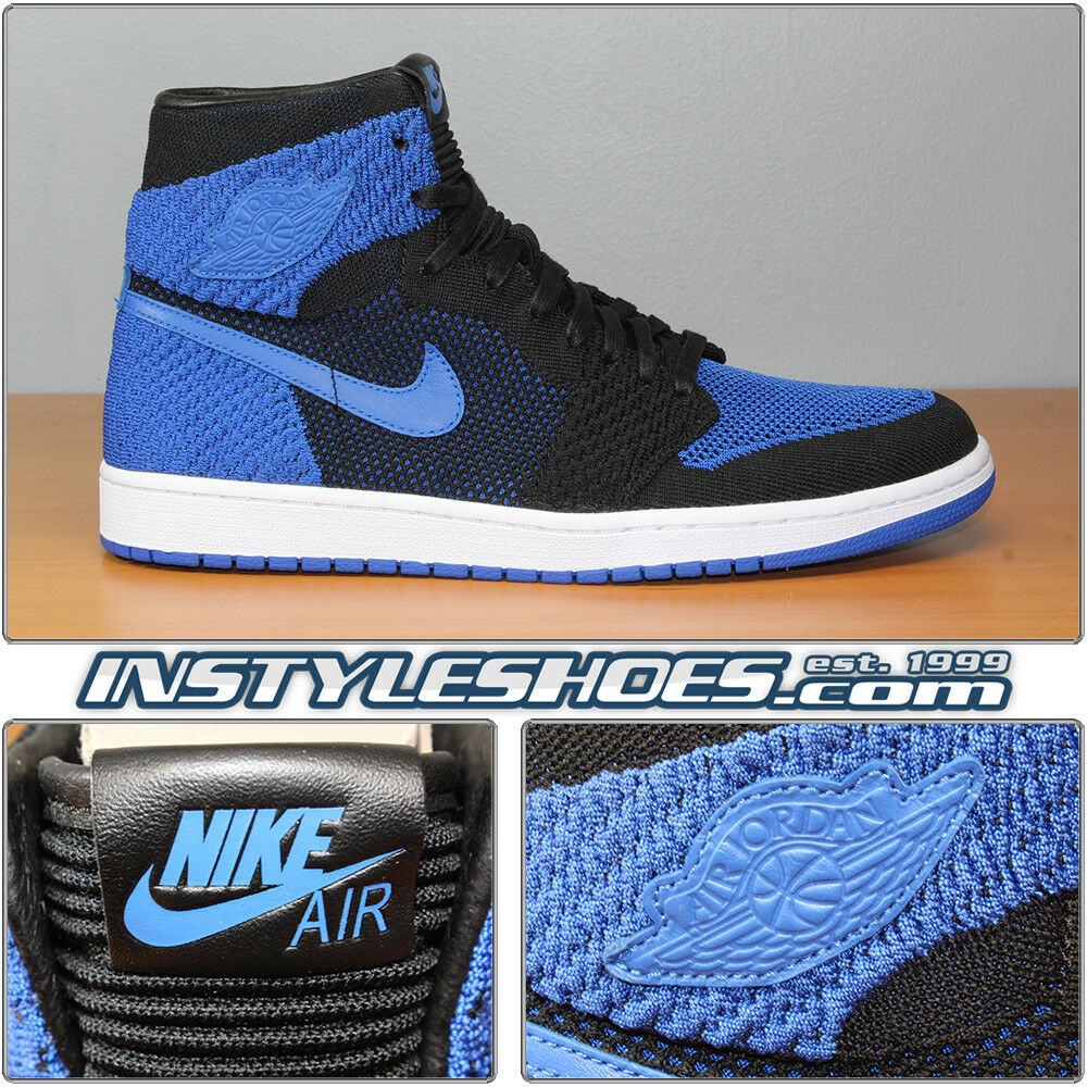 Nike Air Jordan 1 Flyknit Black Royal Sz 11.5 DS 2017 Retro 919704-006