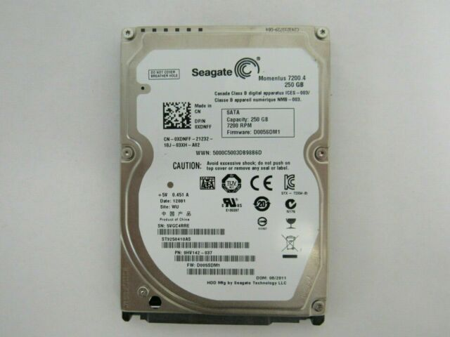 "Seagate Momentus 7200 250GB 7200RPM SATA 2.5/"" HDD Hard Drive ST9250410AS 0XDNFF"
