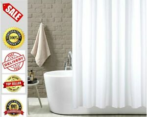 White Plain Fabric Shower Curtain Extra Wide Extra Long Standard