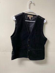 Marsh Landing Womens Vest Black Leather 2 Pocket Sleeveless Button Front Lined M