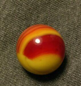 ".63"" RUBY BEE OXBLOOD RED SUNBURST Peltier Marble KING VINTAGE MASTER Marbles"