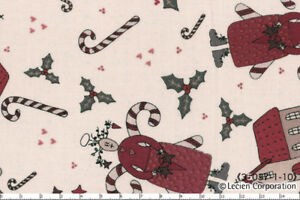 Candy-Cane-Angels-Christmas-Folk-Art-Lecien-Japanese-Import-Fabric-FQ-5-Metre