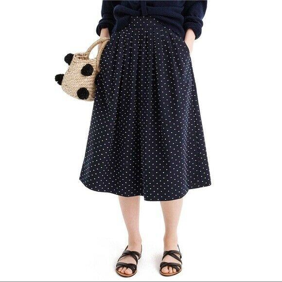 NWT J. CREW Midi Vintage Clip Dot Navy Skirt, Size Medium (FITS LIKE A LARGE)