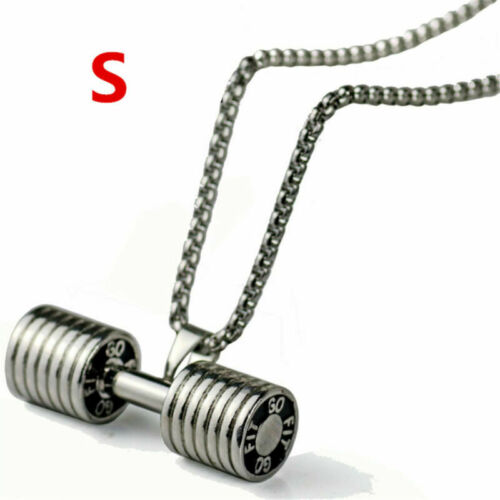 Fashion Unisex Necklace Dumbbell Barbell Pendant Chain Fitness Gym Sports Gift