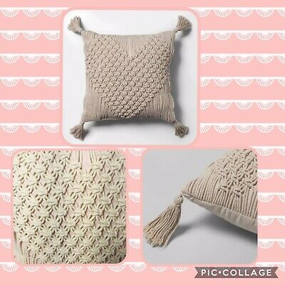 Nwt Macrame Heart Shaped Square Throw Pillow Cream Opalhouse Valentines Day Ebay