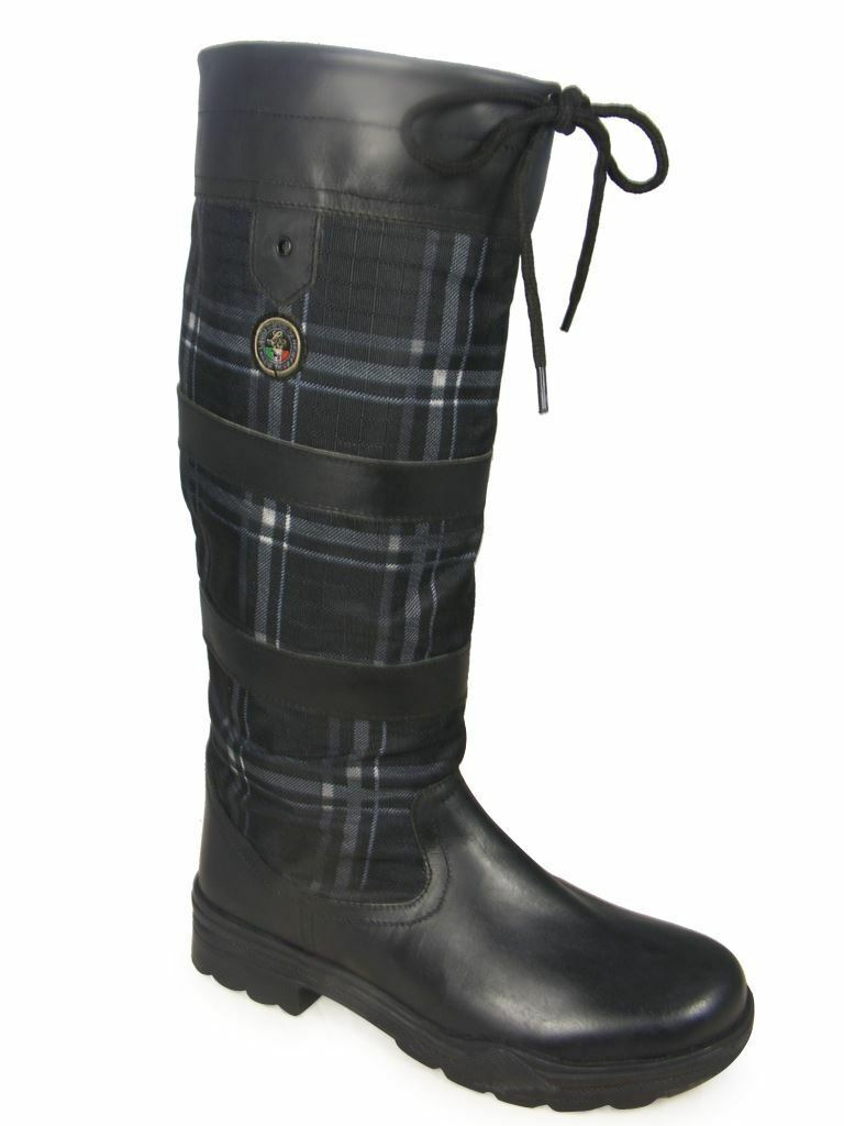HKM Checker Fashion Non Slip Waterproof Long Walking Riding Leder Country Boot
