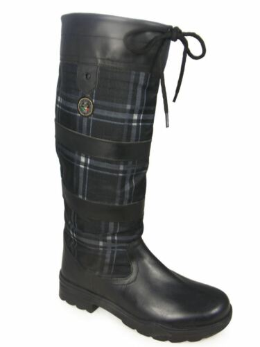 Slip Non Leather Riding Hkm Fashion Boot Waterproof Checker Walking Long Country Black RUwOxq6