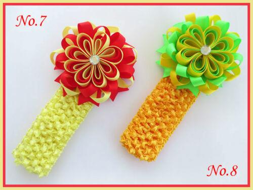 "100 BLESSING Good Girl 1.5/"" Crochet Headband 3.5/"" B-Bird/'s Nest Bow Clip 158 No."