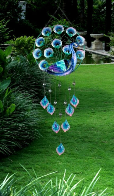 "Metal Glass Peacock Wind Chime Wall Door Decor 32"""