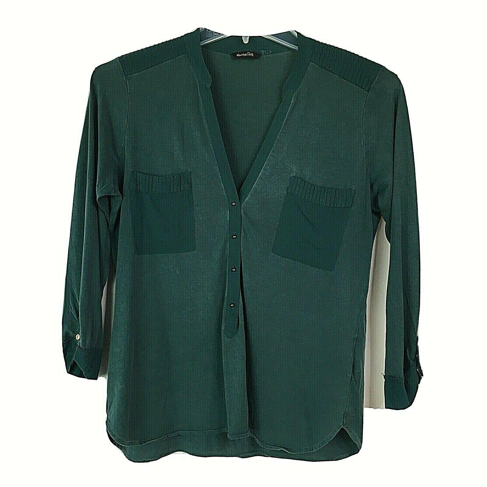 Massimo Dutti Popover Shirt Emerald Green Silk Wo… - image 1
