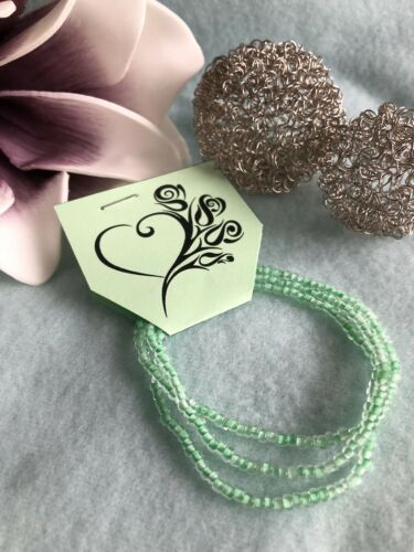 3 x Armband elastisch **Mintgrün**NEU*Perlen Beach Strand Sommer Gummi