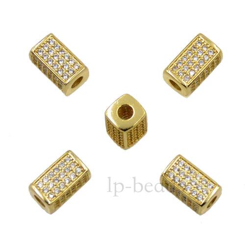 Bar Zircon Pierres Micro Pave Rectangle Bracelet Connector Charm Beads Top
