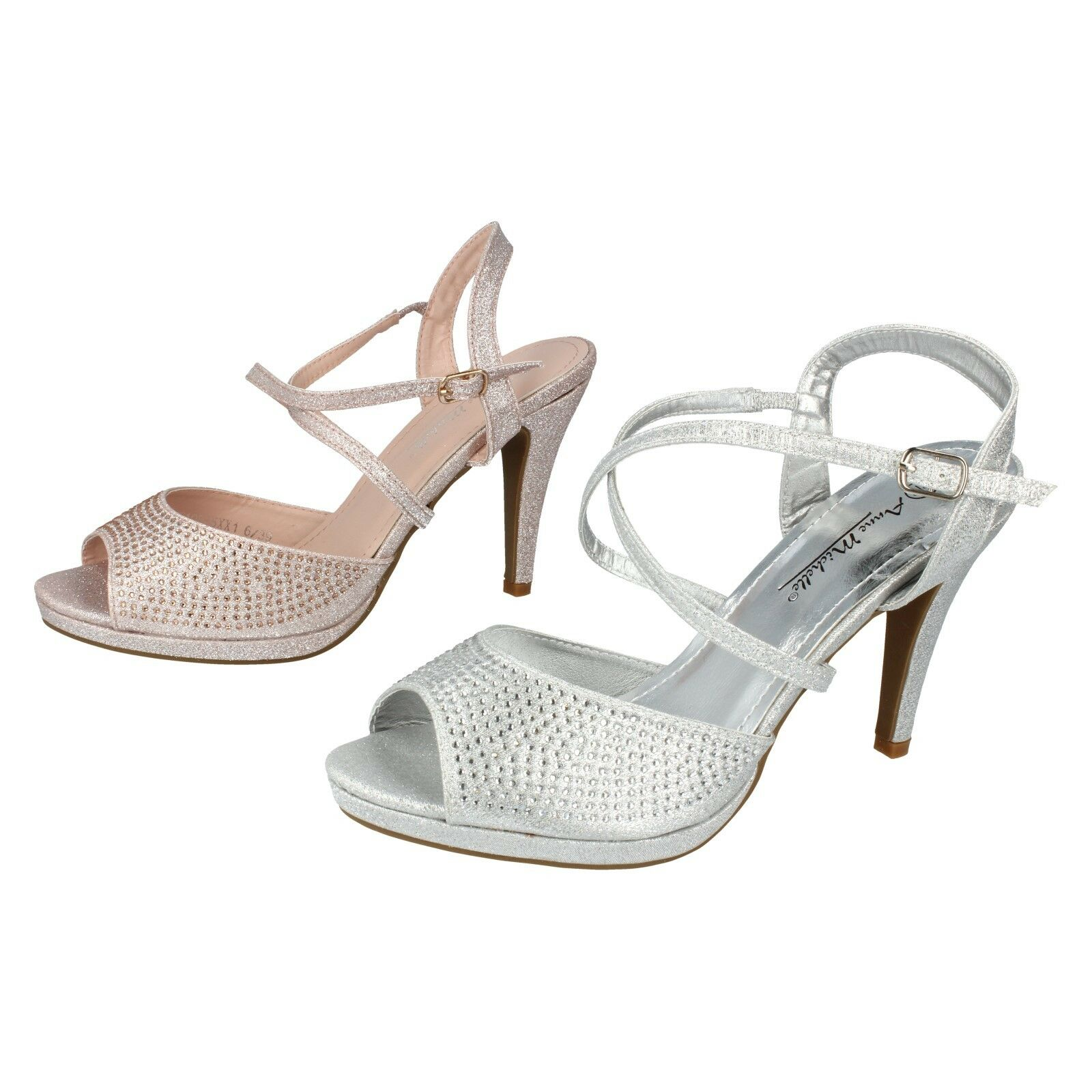 Ladies Silver   pink gold Peep Toe Anne Michelle Heeled Party Sandal F1R0835