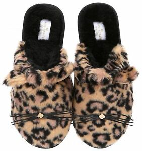 45776aab081f Kate Spade New York Belindy Cat Leopard Print Slippers Scuffs New ...