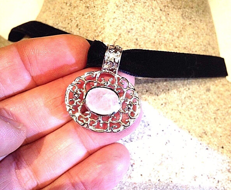 Vintage Originale Sfaccettato Quarzo Quarzo Quarzo rosa Rodio argentoo Sterling 925 d97561