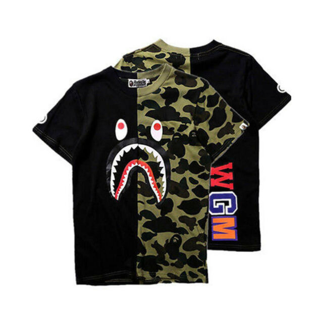 37ccd15f1a28 Mens Ape Shark Head Bathing T-shirt Bape a Camo Army Tops Crew Neck ...