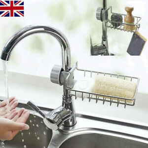 Sink-Faucet-Sponge-Soap-Storage-Organizer-Cloth-Drain-Rack-Holder-Shelf-ti