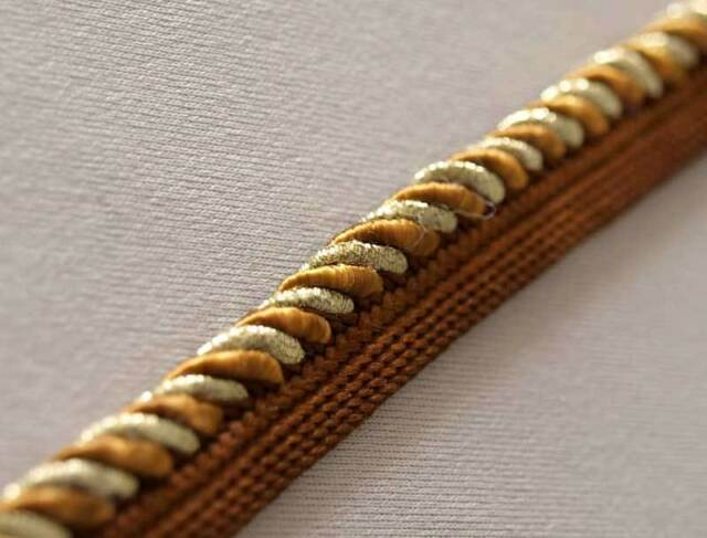 Brown Narrow Metallic Gold Trim. Upholstery Ribbon, Trimming from India. 10 Yard