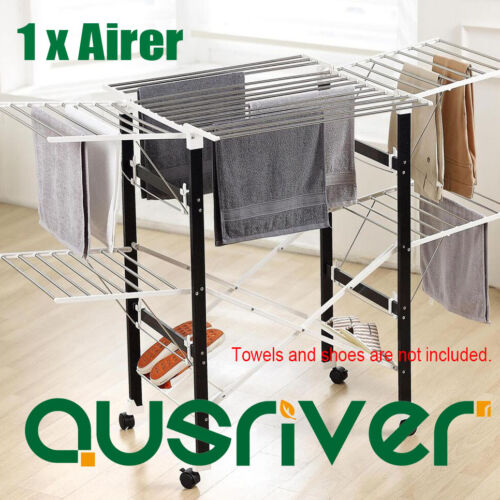 Foldable 2 Tiers Indoor Clothes Airer Laundry Drying Rack Garment Hangers