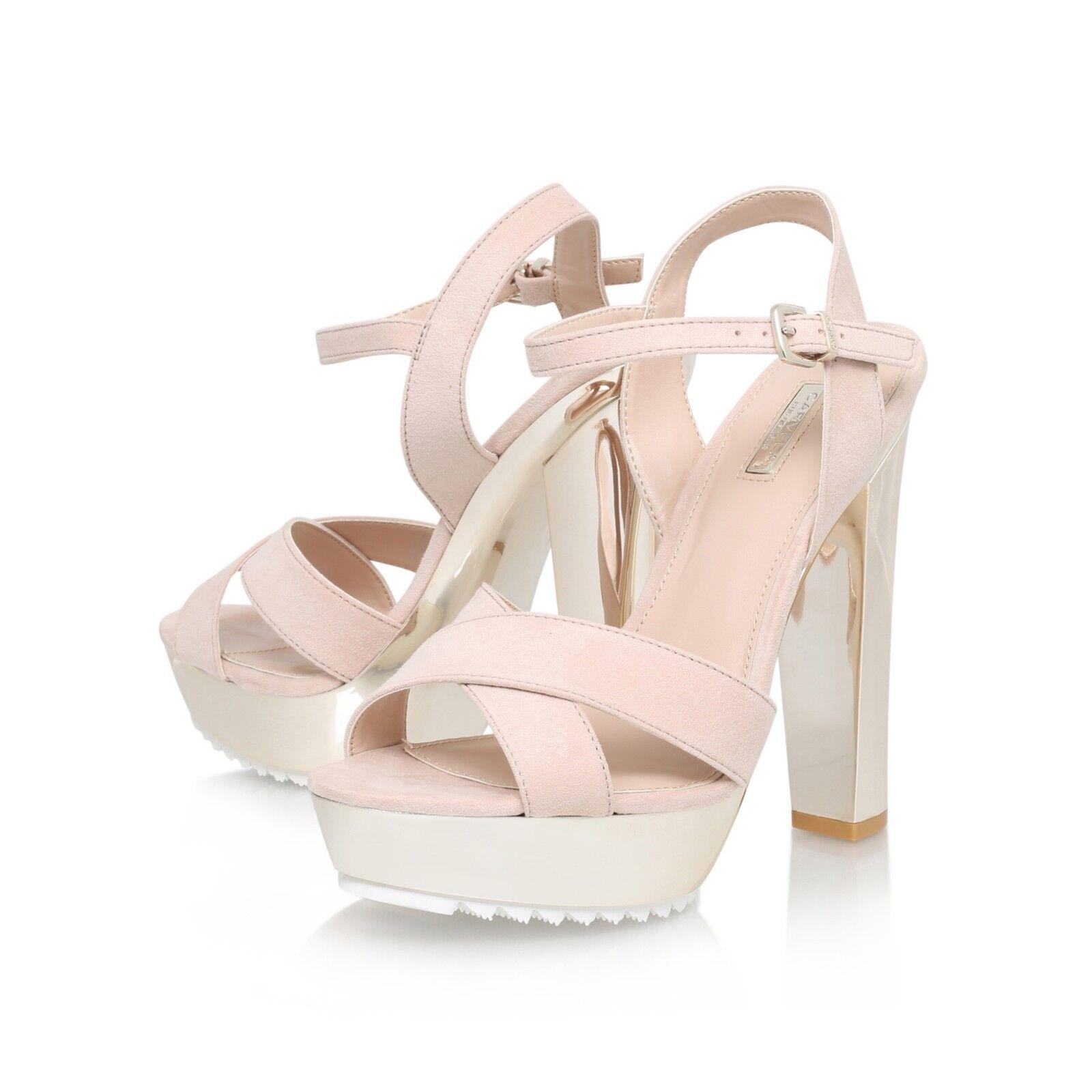 Carvela Kurt Geiger Gone Chunky Chunky Chunky gold Heeled Sandals Size 4 37 NEW   Nude 843290
