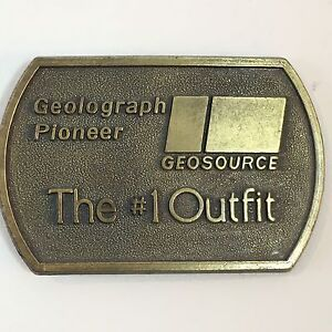 Geolograph-Pioneer-Geosource-The-1-Outfit-Oilfield-1970-039-s-Belt-Buckle-Advertise