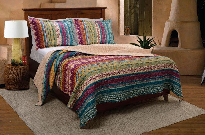 Twin Quilt Set Southwest Native American Motif Lodge Style Cotton Bedding