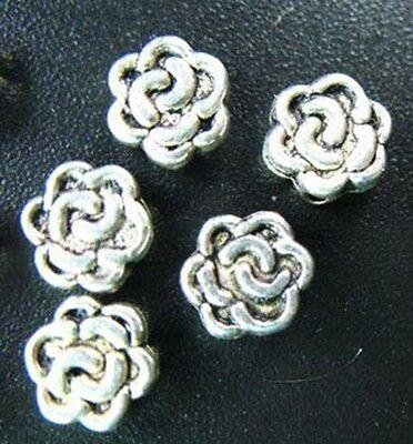 60pcs Tibetan Silver Flat Flower Spacers Beads T70