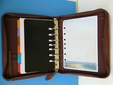 Classic Desk 1 Rings 7 Brown Sim Leather Day Timer Plannerbinder Zip