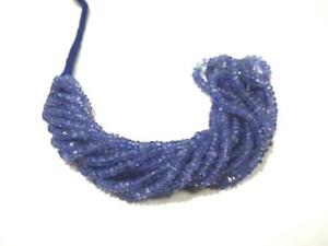 1-Strand-Natural-Tanzanite-Rondelle-Faceted-3-4-5mm-Gemstone-Beads-14-034-Inch-Blue
