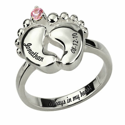 Baby Feet Ring with Birthstone Engraving Inside Sterling Silver Promise Rings