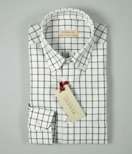 Camicia Pancaldi collo button down cotone flanella rasata quadri verde marrone